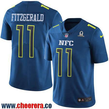 Men's Arizona Cardinals #11 Larry Fitzgerald Navy Blue NFC 2017 Pro Bowl Stitched NFL Nike Game Jersey