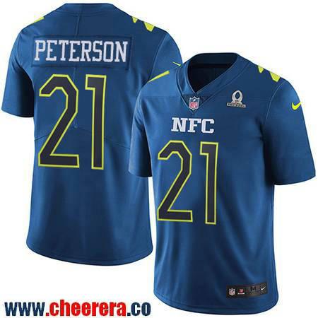 Men's Arizona Cardinals #21 Patrick Peterson Navy Blue NFC 2017 Pro Bowl Stitched NFL Nike Game Jersey