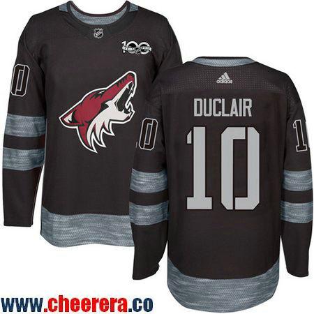 Men's Arizona Coyotes #10 Anthony Duclair Black 100th Anniversary Stitched NHL 2017 adidas Hockey Jersey