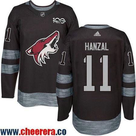 Men's Arizona Coyotes #11 Martin Hanzal Black 100th Anniversary Stitched NHL 2017 adidas Hockey Jersey