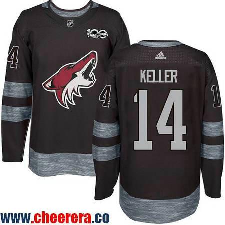 Men's Arizona Coyotes #14 Clayton Keller Black 100th Anniversary Stitched NHL 2017 adidas Hockey Jersey