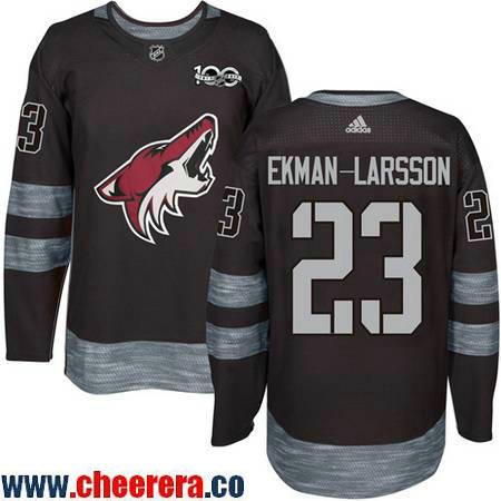 Men's Arizona Coyotes #23 Oliver Ekman-Larsson Black 100th Anniversary Stitched NHL 2017 adidas Hockey Jersey