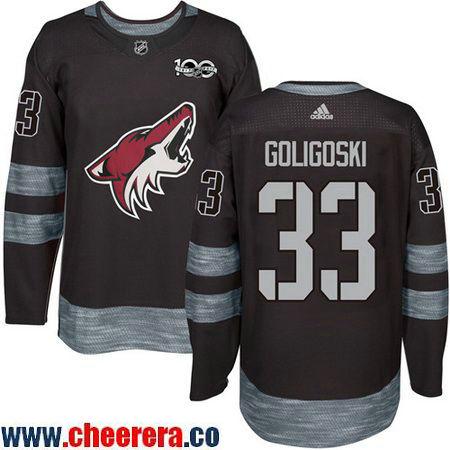 Men's Arizona Coyotes #33 Alex Goligoski Black 100th Anniversary Stitched NHL 2017 adidas Hockey Jersey
