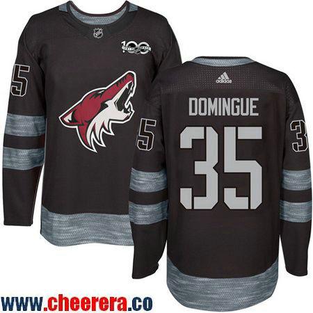 Men's Arizona Coyotes #35 Louis Domingue Black 100th Anniversary Stitched NHL 2017 adidas Hockey Jersey