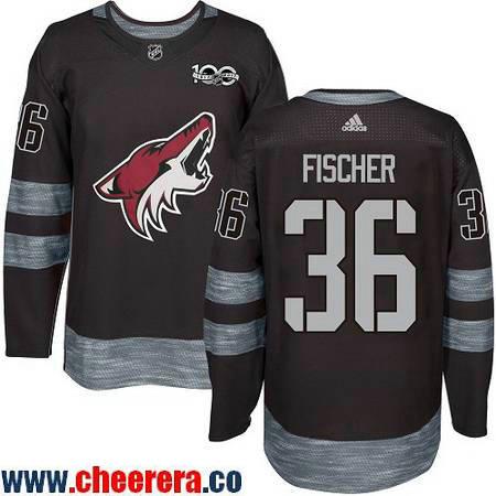 Men's Arizona Coyotes #36 Christian Fischer Black 100th Anniversary Stitched NHL 2017 adidas Hockey Jersey
