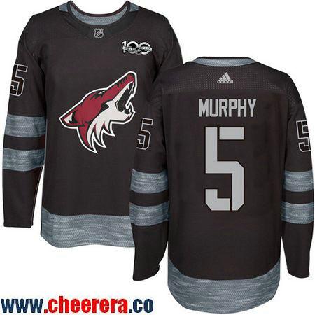 Men's Arizona Coyotes #5 Connor Murphy Black 100th Anniversary Stitched NHL 2017 adidas Hockey Jersey