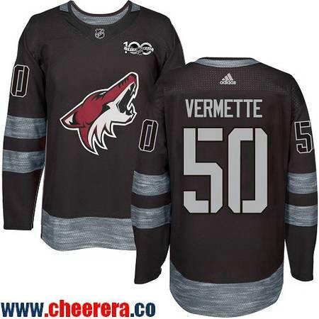 Men's Arizona Coyotes #50 Antoine Vermette Black 100th Anniversary Stitched NHL 2017 adidas Hockey Jersey