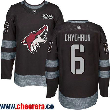Men's Arizona Coyotes #6 Jakob Chychrun Black 100th Anniversary Stitched NHL 2017 adidas Hockey Jersey