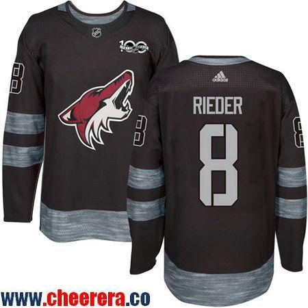 Men's Arizona Coyotes #8 Tobias Rieder Black 100th Anniversary Stitched NHL 2017 adidas Hockey Jersey