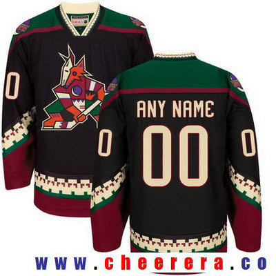 Men's Arizona Coyotes Black Throwback Custom CCM Vintage Hockey Jersey