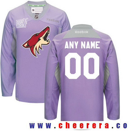 Men's Arizona Coyotes Purple Pink Custom Reebok Hockey Fights Cancer Practice Jersey
