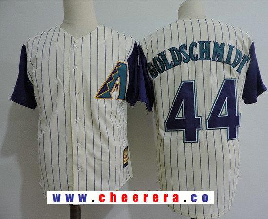 Men's Arizona Diamondbacks #44 Paul Goldschmidt Cream Cooperstown Collection Stitched MLB Mitchell & Ness Jersey