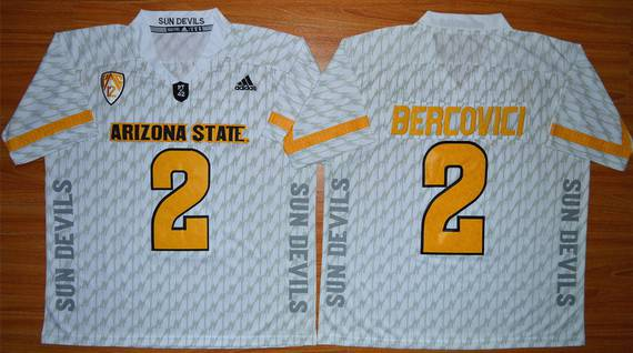 Men's Arizona State Sun Devils #2 Mike Bercovici White Desert Ice 2015 College Football Jersey