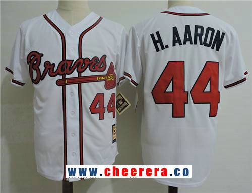 Men's Atlanta Braves #44 Hank Aaron White Cooperstown Collection Stitched MLB Majestic Cool Base Jersey