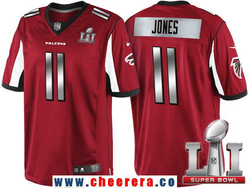 Men's Atlanta Falcons #11 Julio Jones Red With Silver 2017 Super Bowl LI Patch Stitched NFL Limited Jersey