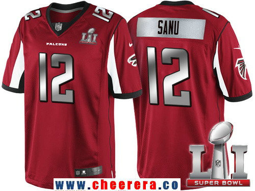 Men's Atlanta Falcons #12 Mohamed Sanu Red With Silver 2017 Super Bowl LI Patch Stitched NFL Limited Jersey