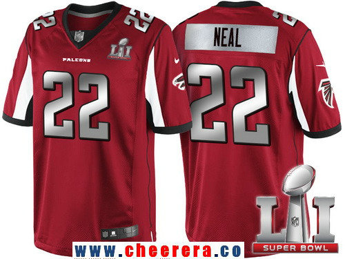 Men's Atlanta Falcons #22 Keanu Neal Red With Silver 2017 Super Bowl LI Patch Stitched NFL Limited Jersey