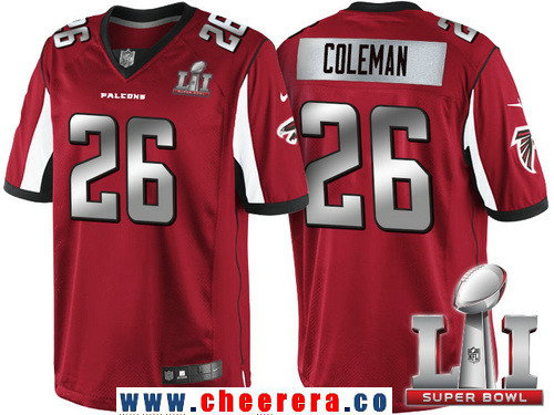 Men's Atlanta Falcons #26 Tevin Coleman Red With Silver 2017 Super Bowl LI Patch Stitched NFL Limited Jersey
