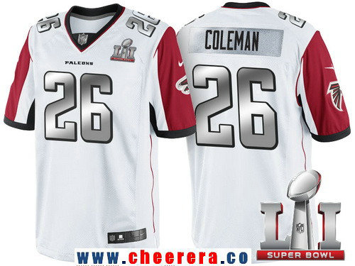 Men's Atlanta Falcons #26 Tevin Coleman White With Silver 2017 Super Bowl LI Patch Stitched NFL Limited Jersey