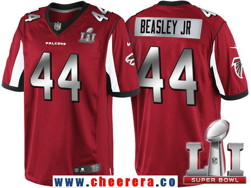 Men's Atlanta Falcons #44 Vic Beasley Jr Red With Silver 2017 Super Bowl LI Patch Stitched NFL Limited Jersey