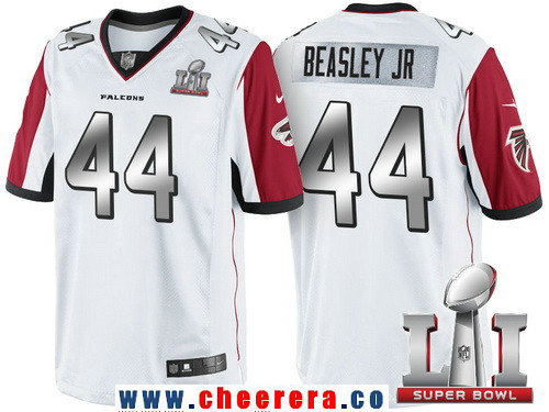 Men's Atlanta Falcons #44 Vic Beasley Jr White With Silver 2017 Super Bowl LI Patch Stitched NFL Limited Jersey