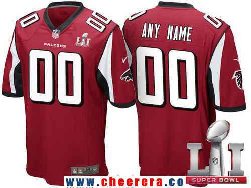 Men's Atlanta Falcons Red 2017 Super Bowl LI NFL Nike Custom Game Jersey