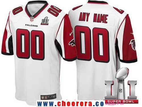 Men's Atlanta Falcons White 2017 Super Bowl LI NFL Nike Custom Game Jersey