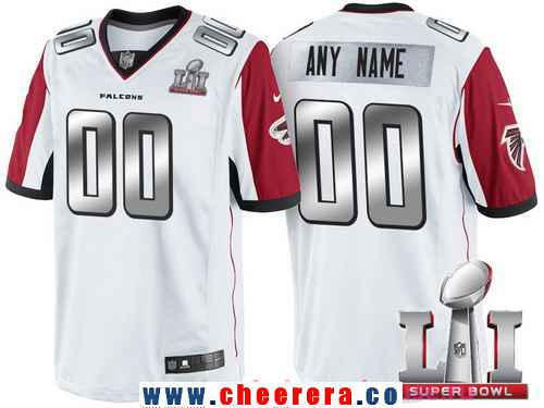 Men's Atlanta Falcons White Steel Silver 2017 Super Bowl LI NFL Nike Custom Limited Jersey