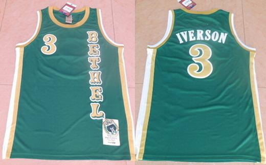 Men's Bethel High School #3 Allen Iverson Green Soul Swingman Basketball Jersey