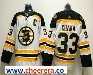 Men's Boston Bruins #33 Zdeno Chara Whit With C Patch 2017-2018 Hockey Stitched NHL Jersey