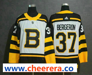 Men's Boston Bruins #37 Patrice Bergeron White 2019 Winter Classic Adidas Stitched NHL Jersey