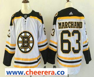Men's Boston Bruins #63 Brad Marchand White 2017-2018 Hockey Stitched NHL Jersey