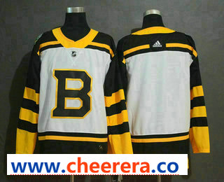 Men's Boston Bruins Blank White 2019 Winter Classic Adidas Stitched NHL Jersey