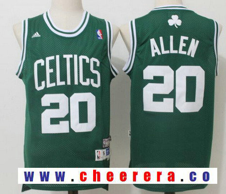 Men's Boston Celtics #20 Ray Allen Green Hardwood Classics Soul Swingman Stitched NBA Throwback Jersey