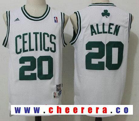 Men's Boston Celtics #20 Ray Allen White Hardwood Classics Soul Swingman Stitched NBA Throwback Jersey