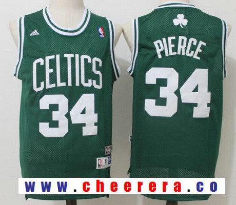 Men's Boston Celtics #34 Paul Pierce Green Hardwood Classics Soul Swingman Stitched NBA Throwback Jersey