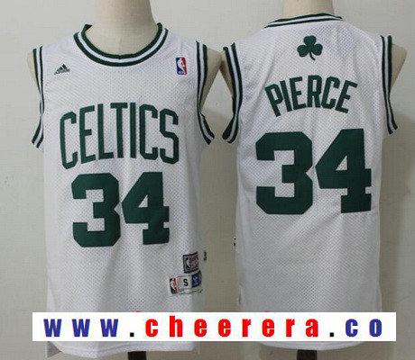 Men's Boston Celtics #34 Paul Pierce White Hardwood Classics Soul Swingman Stitched NBA Throwback Jersey