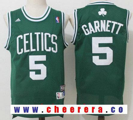 Men's Boston Celtics #5 Kevin Garnett Green Hardwood Classics Soul Swingman Stitched NBA Throwback Jersey
