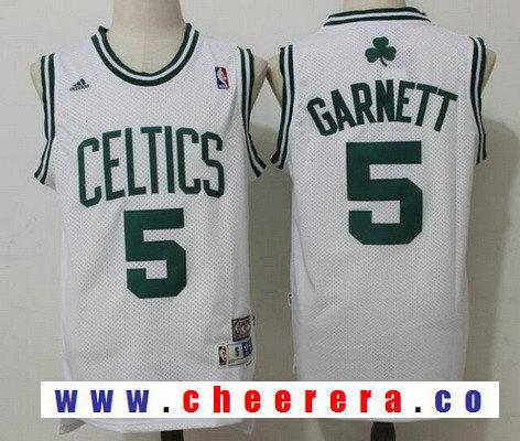 Men's Boston Celtics #5 Kevin Garnett White Hardwood Classics Soul Swingman Stitched NBA Throwback Jersey
