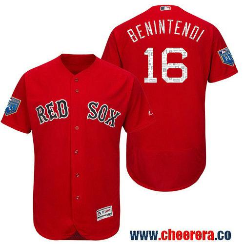 Men's Boston Red Sox #16 Andrew Benintendi Scarlet 2018 Spring Training Flex Base Jersey