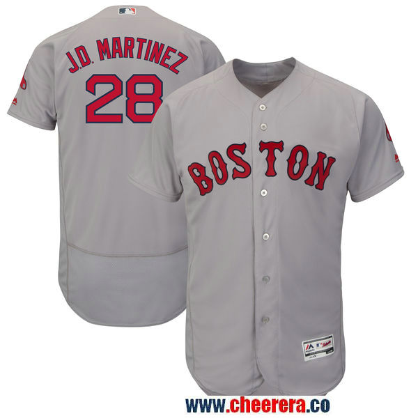 Men's Boston Red Sox #28 JD Martinez Majestic Gray Authentic Collection Flex Base Player Jersey