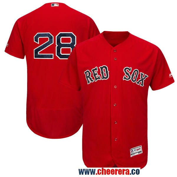 Men's Boston Red Sox #28 JD Martinez Majestic Scarlet Authentic Collection Flex Base Player Jersey