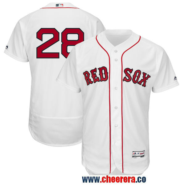 Men's Boston Red Sox #28 JD Martinez Majestic White Authentic Collection Flex Base Player Jersey