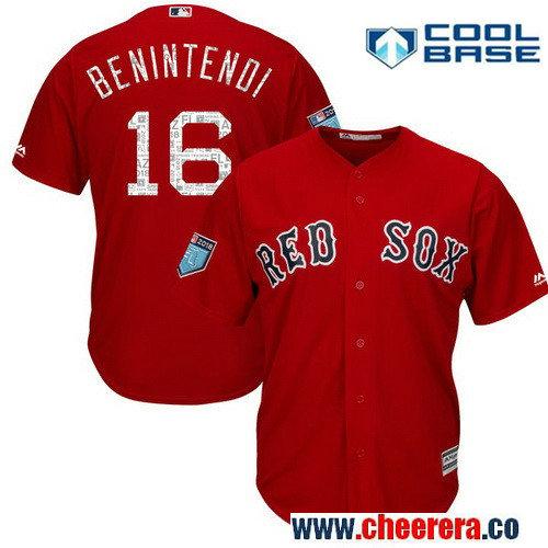 Men's Boston Red Sox Andrew Benintendi Majestic Scarlet 2018 Spring Training Cool Base Player Jersey