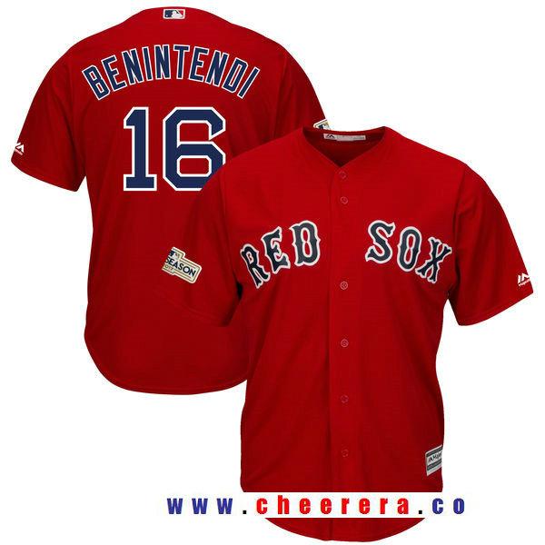 Men's Boston Red Sox Andrew Benintendi Majestic Scarlet Red 2017 Postseason Patch Cool Base Player Jersey