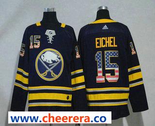 Men's Buffalo Sabres #15 Jack Eichel Navy Blue With USA Flag 2017-2018 Hockey Stitched NHL Jersey