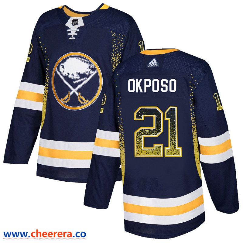 Men's Buffalo Sabres #21 Kyle Okposo Navy Drift Fashion Adidas Jersey