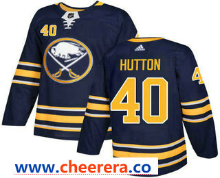 Men's Buffalo Sabres #40 Carter Hutton Navy Blue Home Stitched NHL Jersey