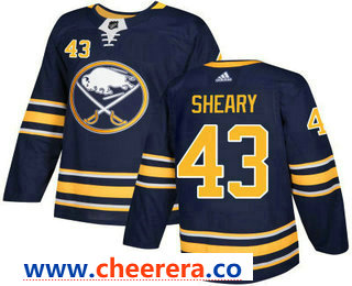 Men's Buffalo Sabres #43 Conor Sheary Navy Blue Home Stitched NHL Jersey