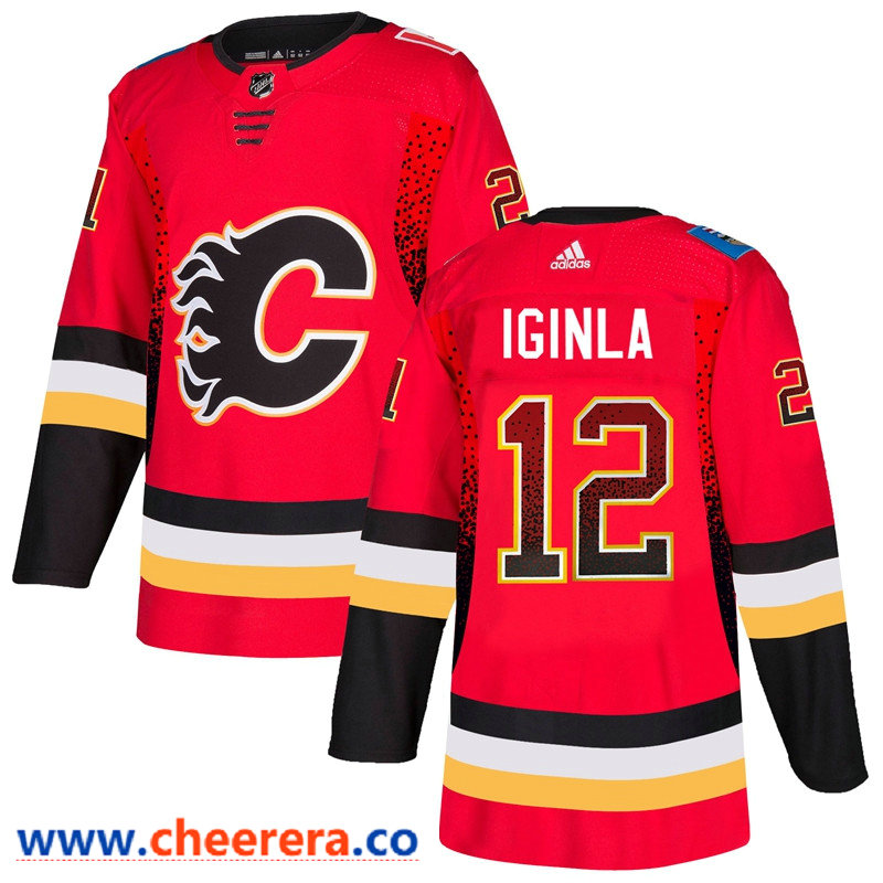 Men's Calgary Flames #12 Jarome Red Drift Fashion Adidas Jersey